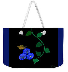 Blue Flower Butterfly Weekender Tote Bag by Rand Herron