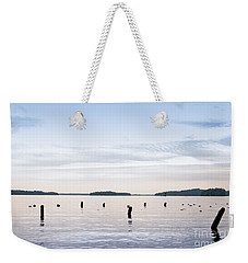 Weekender Tote Bag featuring the photograph Blue Lake Muskoka by Les Palenik