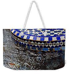 Blue Mosaic Fountain II Weekender Tote Bag by Bonnie Myszka