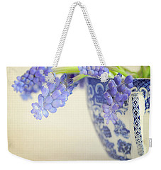 Blue Muscari Flowers In Blue And White China Cup Weekender Tote Bag by Lyn Randle