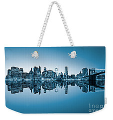 Weekender Tote Bag featuring the photograph Blue New York City by Luciano Mortula