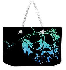 Weekender Tote Bag featuring the photograph Blue On Black by Lauren Radke