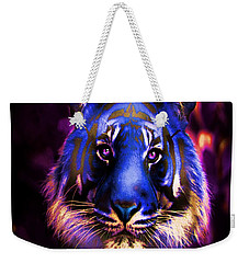 Weekender Tote Bag featuring the photograph Blue Tiger Of The Purple Forest by George Pedro
