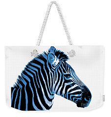 Weekender Tote Bag featuring the photograph Blue Zebra Art by Rebecca Margraf