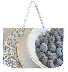 Blueberries In Blue And White China Bowl Weekender Tote Bag by Lyn Randle