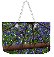 Bluebonnets And Rusted Iron Wheel Weekender Tote Bag