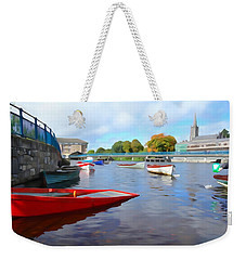 Weekender Tote Bag featuring the photograph Boats On The Garavogue by Charlie and Norma Brock