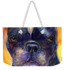 Boston Terrier Dog Portrait Painting In Watercolor Weekender Tote Bag
