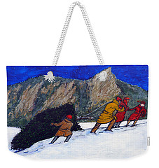 Weekender Tote Bag featuring the painting Boulder Christmas by Tom Roderick