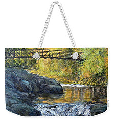 Weekender Tote Bag featuring the painting Boulder Creek by Tom Roderick