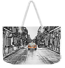Bourbon St Taxi French Quarter New Orleans Color Splash Black And White Colored Pencil Digital Art Weekender Tote Bag