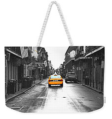 Bourbon Street Taxi French Quarter New Orleans Color Splash Black And White Film Grain Digital Art Weekender Tote Bag