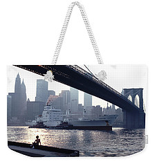 Boy Freighter Brooklyn Bridge Sunset Weekender Tote Bag