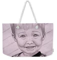 Weekender Tote Bag featuring the drawing Brady by Julie Brugh Riffey