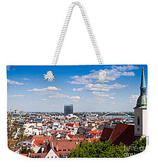 Weekender Tote Bag featuring the photograph Bratislava Roofs by Les Palenik
