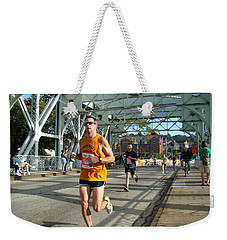 Weekender Tote Bag featuring the photograph Bridge Runner by Alice Gipson