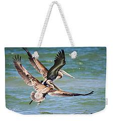 Brown Pelicans Taking Flight Weekender Tote Bag