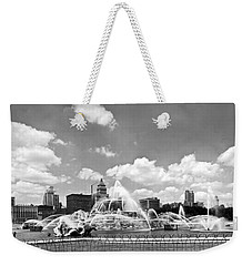 Buckingham Fountain In Chicago Weekender Tote Bag by Underwood Archives