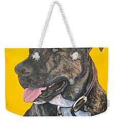 Weekender Tote Bag featuring the painting Buddy by Tom Roderick