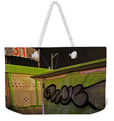 Weekender Tote Bag featuring the photograph Building 31 Rimini Beach Graffiti by Andy Prendy
