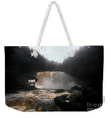 Weekender Tote Bag featuring the photograph Bull Elk In Front Of Waterfall by Dan Friend