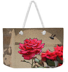 Weekender Tote Bag featuring the photograph Bumble Bee And Rose by Donna  Smith