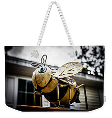 Bumble Bee Of Happiness Metal Statue Weekender Tote Bag