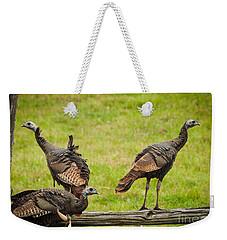 Bunch Of Turkeys Weekender Tote Bag by Cheryl Baxter