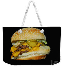 Weekender Tote Bag featuring the photograph Burgerlicious by Cindy Manero