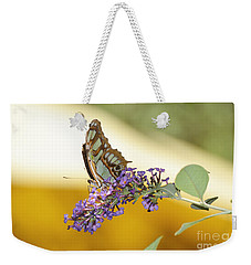 Butterfly Lavender Branch Weekender Tote Bag by Andrea Hazel Ihlefeld