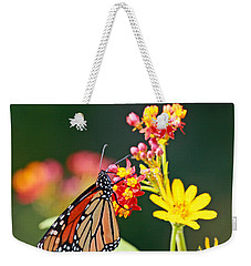 Butterfly Monarch On Lantana Flower Weekender Tote Bag by Luana K Perez