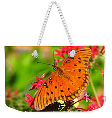 Butterfly On Pentas Weekender Tote Bag by Carla Parris