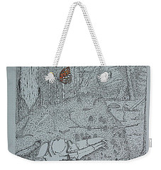 Canine Skull And Butterfly Weekender Tote Bag by Daniel Reed