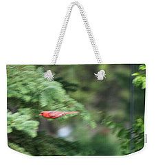 Weekender Tote Bag featuring the photograph Cardinal In Flight by Thomas Woolworth