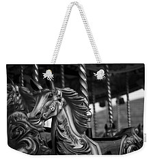 Weekender Tote Bag featuring the photograph Carousel Horses Mono by Steve Purnell