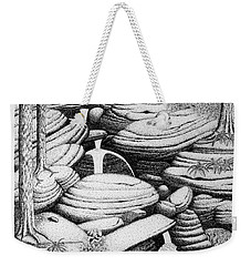 Weekender Tote Bag featuring the drawing Cascade In Boulders by Daniel Reed