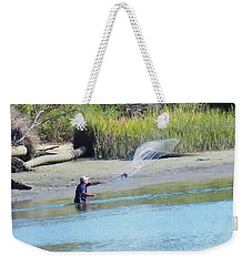 Weekender Tote Bag featuring the photograph Casting For Shrimp At Hunting Island by Patricia Greer