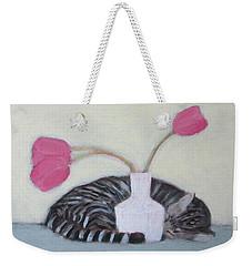 Cat And Tulips Weekender Tote Bag