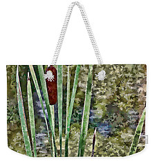 Weekender Tote Bag featuring the photograph Cattails Along The Pond by Don Schwartz