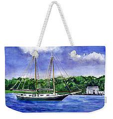 Weekender Tote Bag featuring the painting Cedar Beach Schooner by Clara Sue Beym