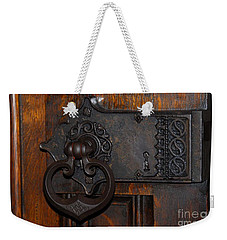 Weekender Tote Bag featuring the photograph Chapel Door by Cindy Manero