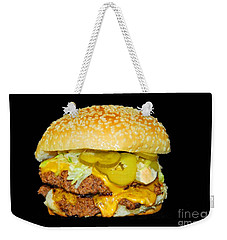 Weekender Tote Bag featuring the photograph Cheeseburger by Cindy Manero
