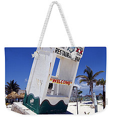Weekender Tote Bag featuring the photograph Chen Rio Beach Bar Sign Cozumel Mexico by Shawn O'Brien