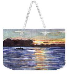 Weekender Tote Bag featuring the painting Chesapeake Dusk Boat Ride by Clara Sue Beym