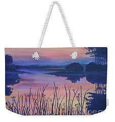 Weekender Tote Bag featuring the painting Chincoteaque Island Sunset by Julie Brugh Riffey