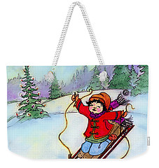 Christmas Joy Child On Sled Weekender Tote Bag by Glenna McRae
