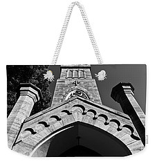 Church Facade In Black And White Weekender Tote Bag