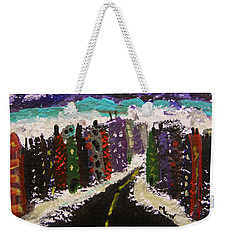 Weekender Tote Bag featuring the painting City Connections by Mary Carol Williams