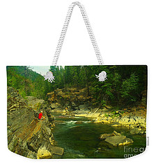 Cliff Over The Yak River Weekender Tote Bag by Jeff Swan