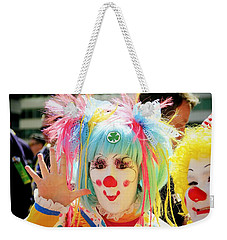 Weekender Tote Bag featuring the photograph Cloverleaf Clown by Alice Gipson